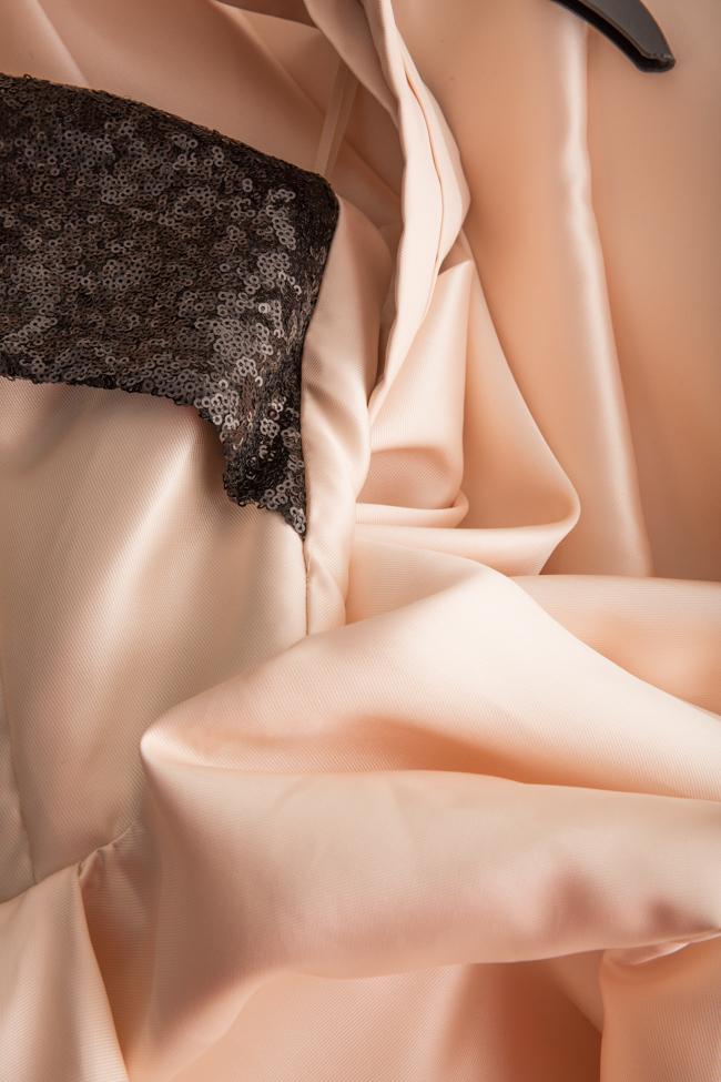 Rochie asimetrica din tafta de matase cu insertii din paiete Alda Ciceu imagine 5
