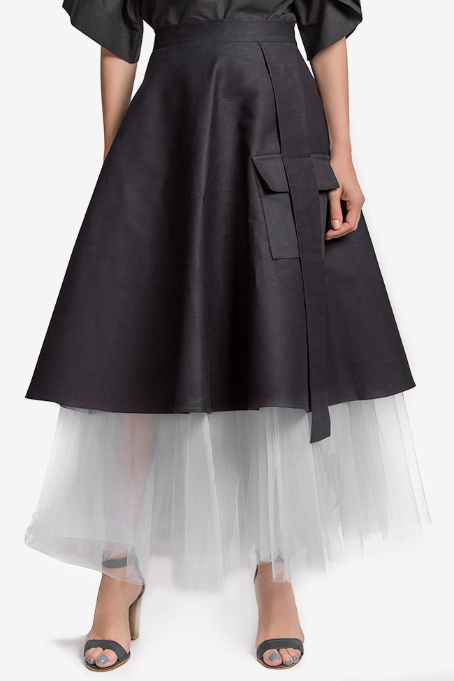 Cotton-denim tulle midi skirt AD The Brand image 0