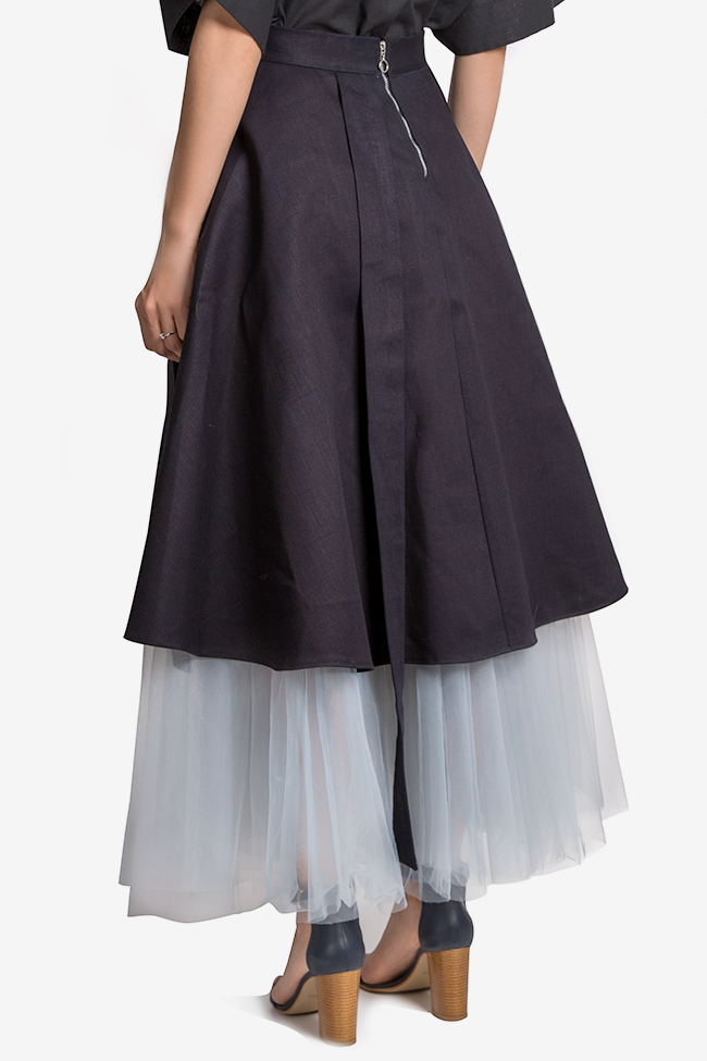 Cotton-denim tulle midi skirt AD The Brand image 2
