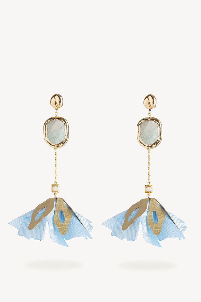 Gold-plated cultured pearls brass earrings Bon Bijou image 0