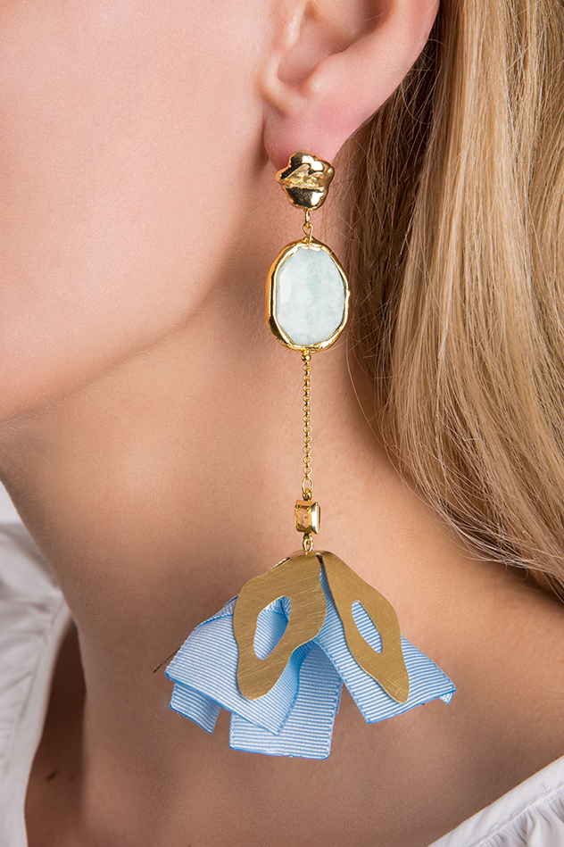 Gold-plated cultured pearls brass earrings Bon Bijou image 2