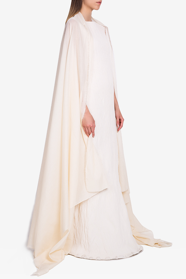 Detachable-cape cotton-blend pleated gown Marius Musat image 1