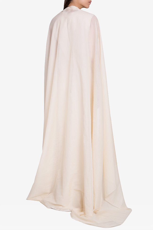 Detachable-cape cotton-blend pleated gown Marius Musat image 2