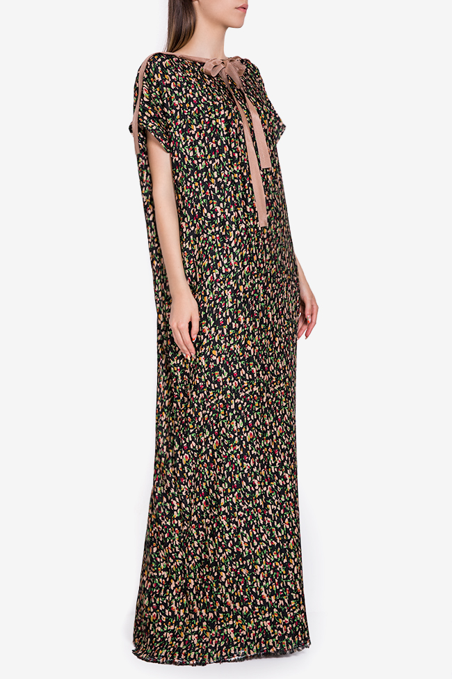 Pleated floral-print crepe de chine maxi dress Marius Musat image 1