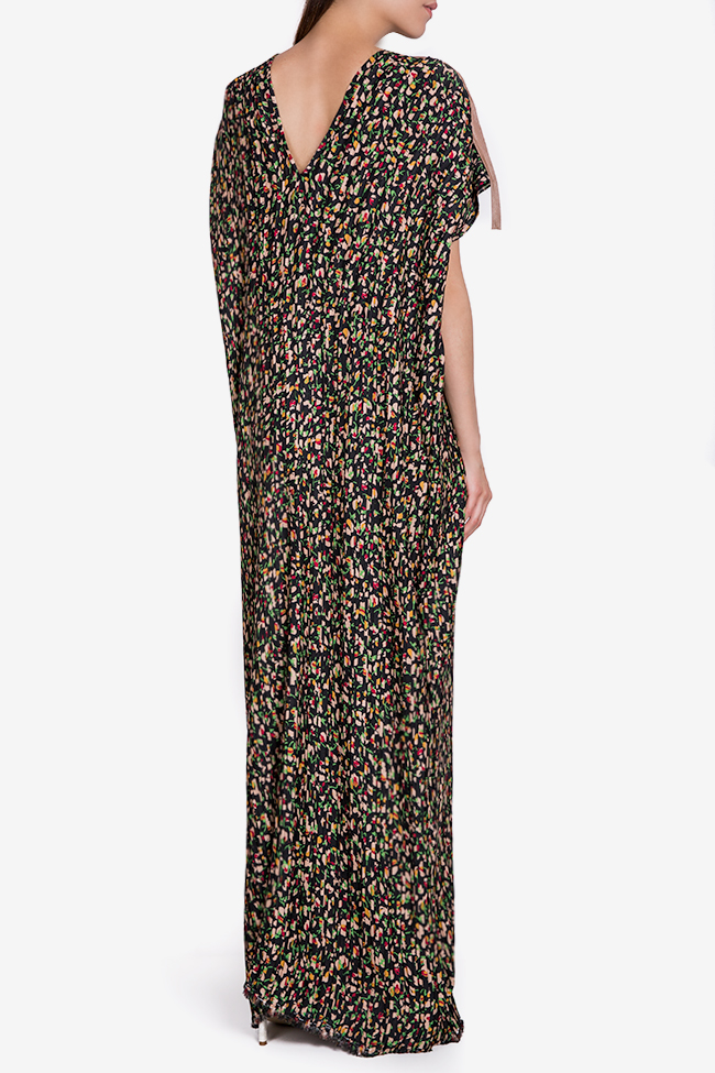 Pleated floral-print crepe de chine maxi dress Marius Musat image 2