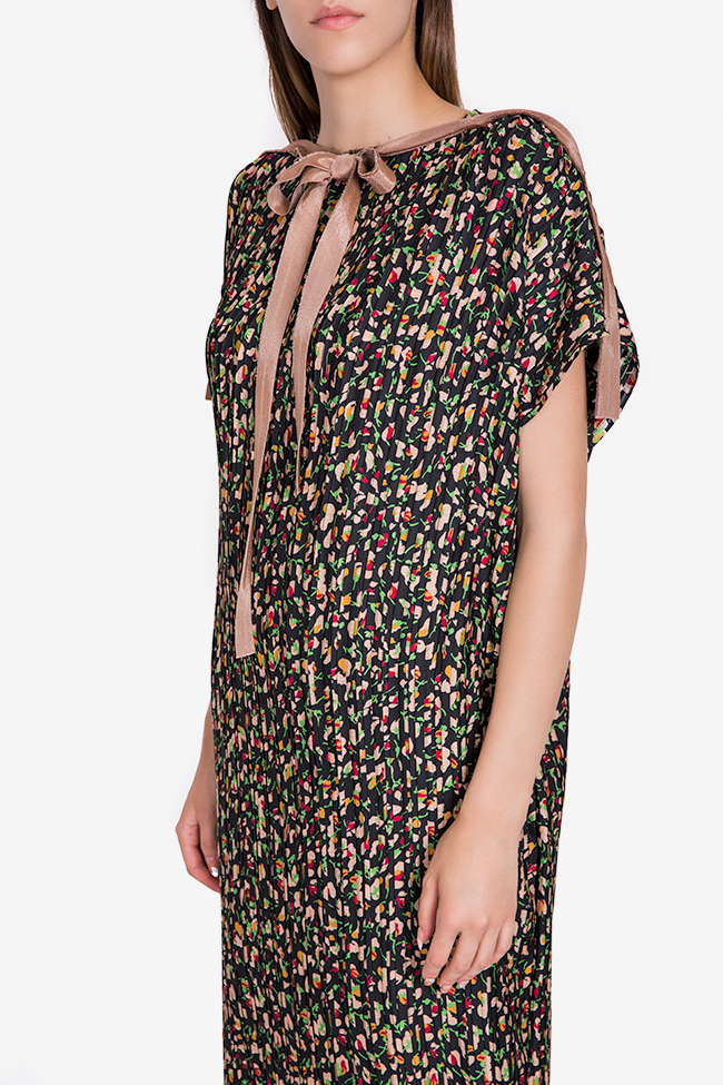Pleated floral-print crepe de chine maxi dress Marius Musat image 3