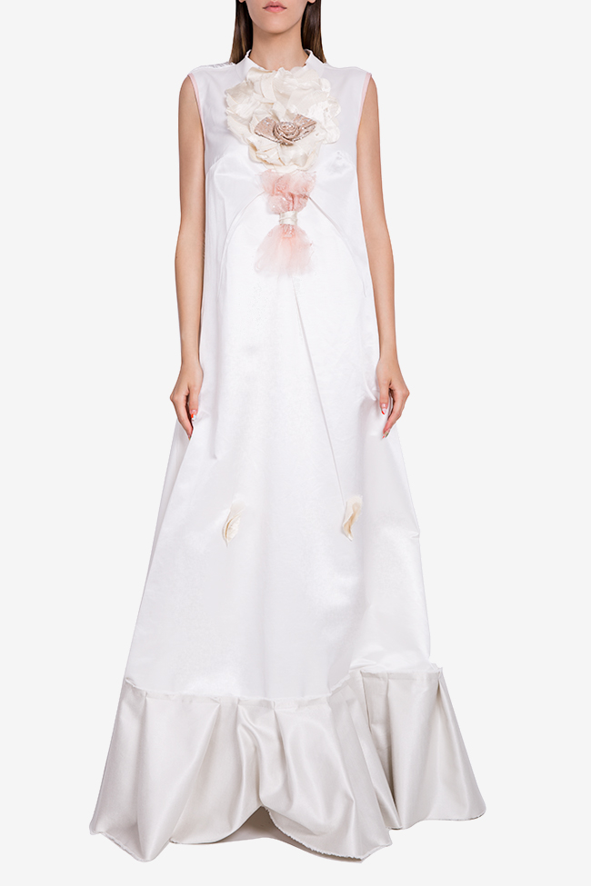 Embroidered ruffled jersey maxi dress Marius Musat image 0