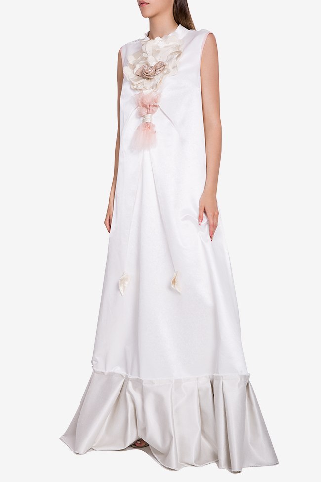 Embroidered ruffled jersey maxi dress Marius Musat image 1
