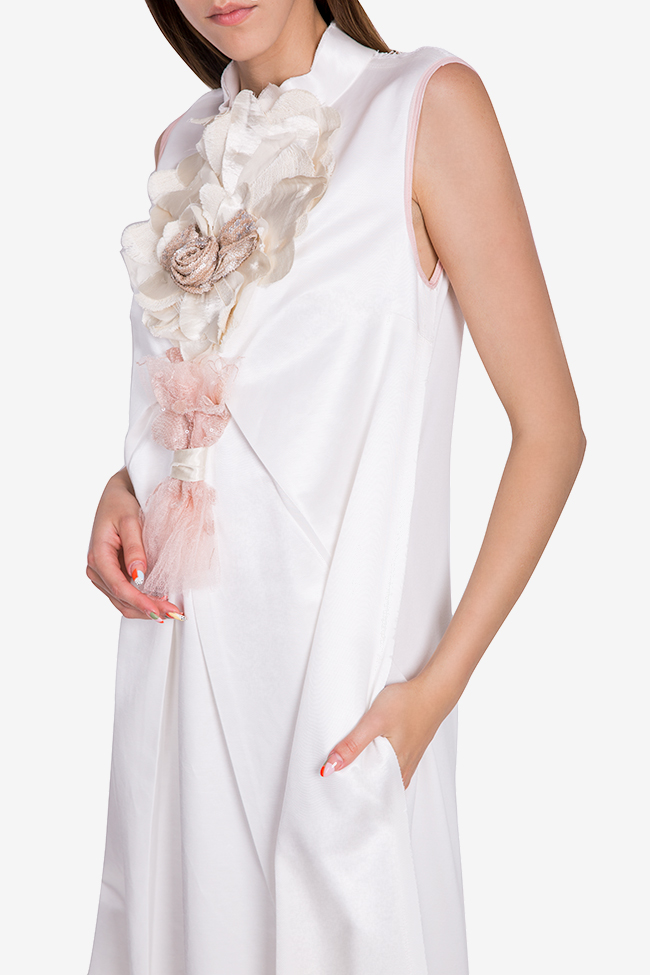 Embroidered ruffled jersey maxi dress Marius Musat image 3