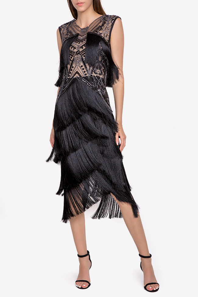 Helen fringed silk-blend lace and tulle midi dress Mariana Ciceu image 0