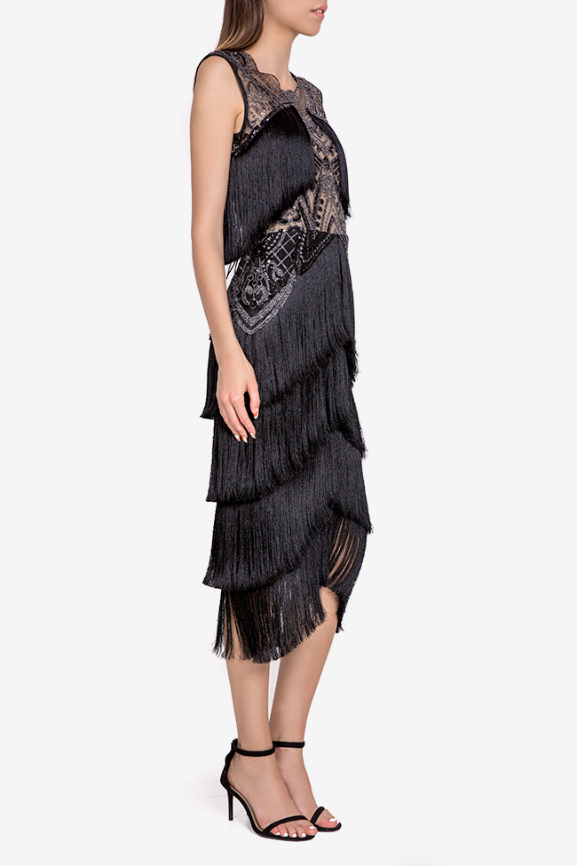 Helen fringed silk-blend lace and tulle midi dress Mariana Ciceu image 1