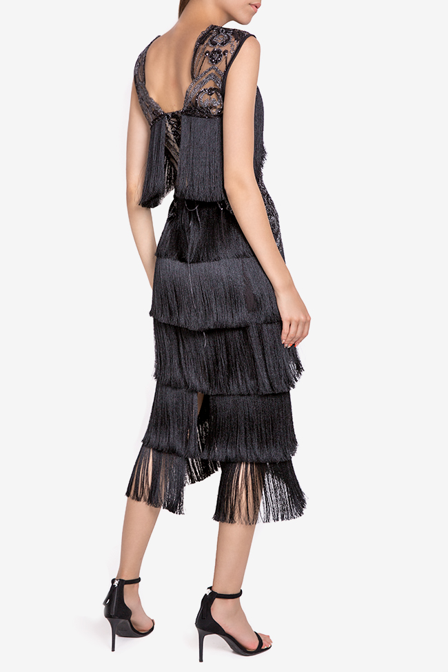 Helen fringed silk-blend lace and tulle midi dress Mariana Ciceu image 2