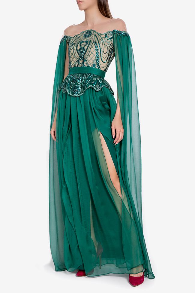 Thalia cape-sleeve embellished silk gown Mariana Ciceu image 0