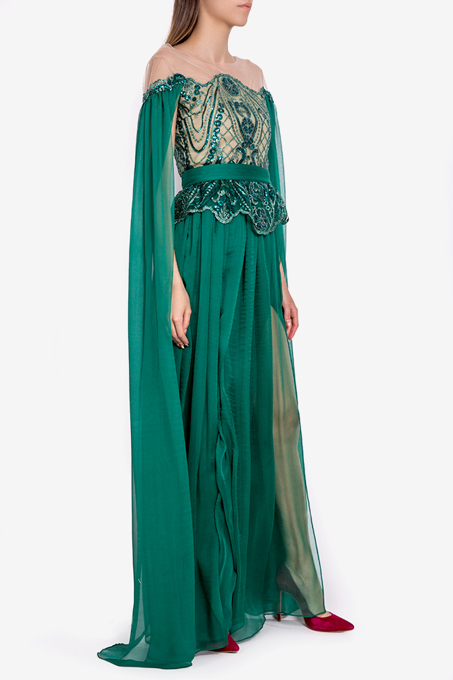 Thalia cape-sleeve embellished silk gown Mariana Ciceu image 1