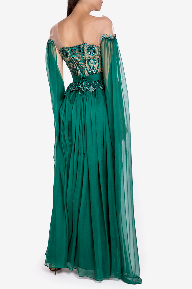Thalia cape-sleeve embellished silk gown Mariana Ciceu image 2