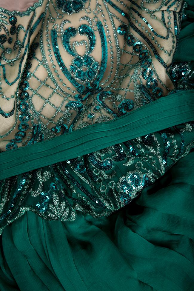 Thalia cape-sleeve embellished silk gown Mariana Ciceu image 4