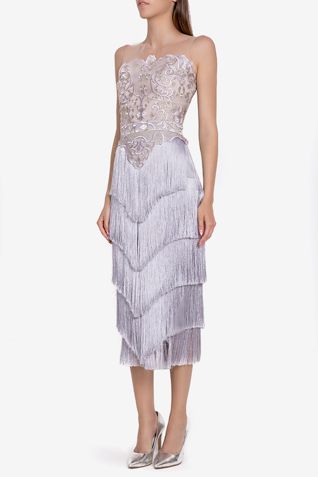 Clio fringed silk-blend lace and tulle midi dress Mariana Ciceu image 0