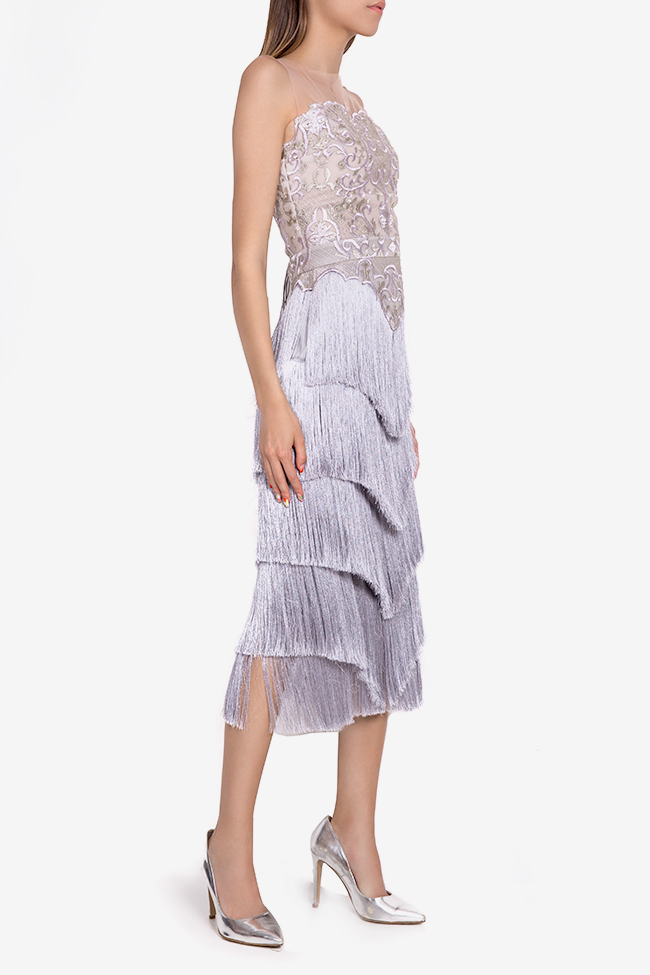 Clio fringed silk-blend lace and tulle midi dress Mariana Ciceu image 1