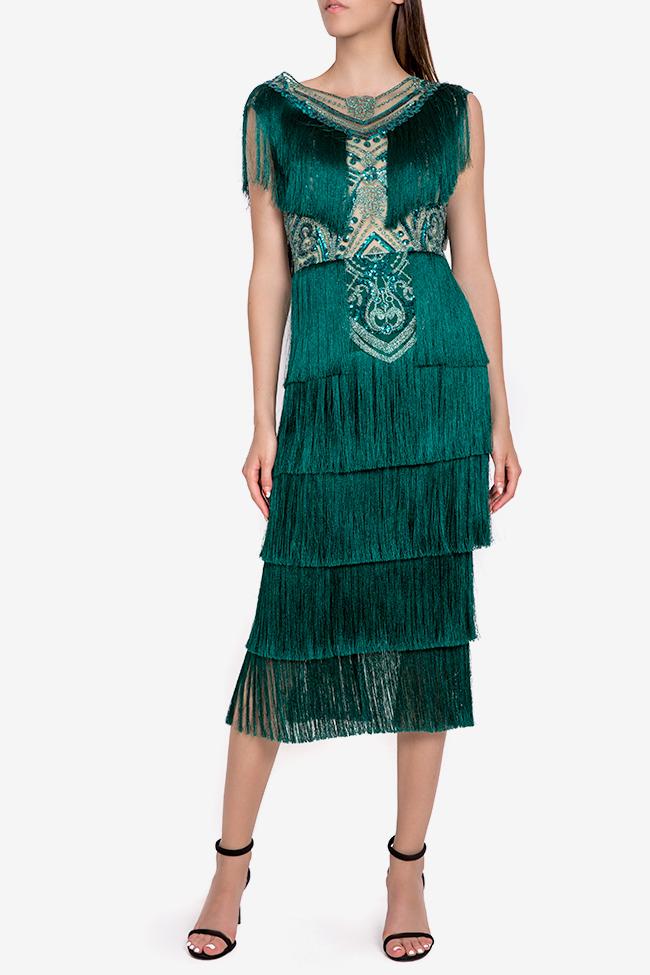 Venus fringed silk-blend lace and tulle midi dress Mariana Ciceu image 0