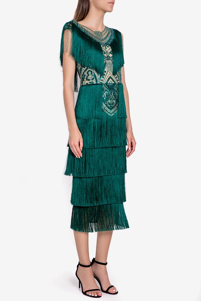 Venus fringed silk-blend lace and tulle midi dress Mariana Ciceu image 1