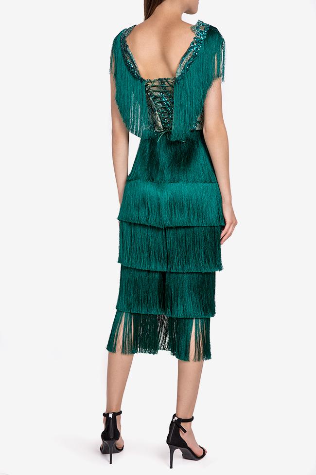Venus fringed silk-blend lace and tulle midi dress Mariana Ciceu image 2
