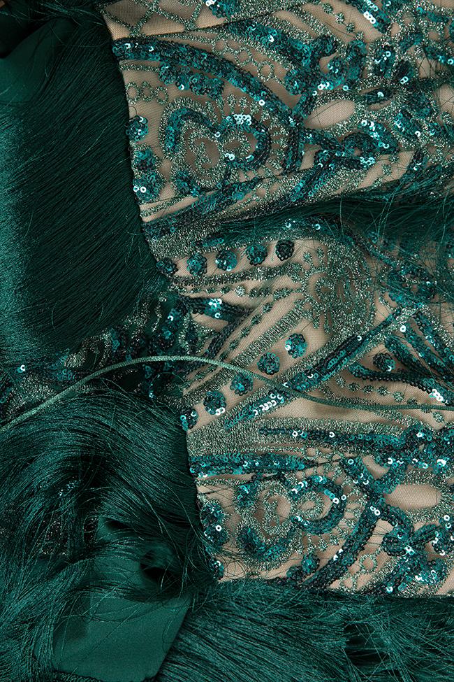 Venus fringed silk-blend lace and tulle midi dress Mariana Ciceu image 4