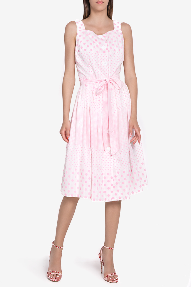 Polka-dot belted cotton midi dress Acob a Porter image 1