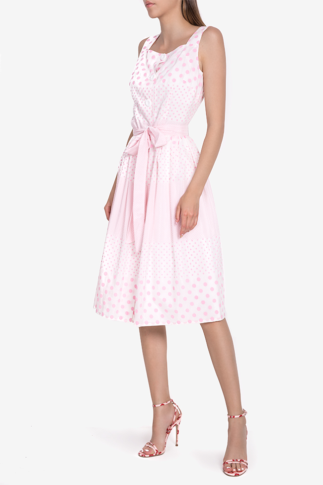 Polka-dot belted cotton midi dress Acob a Porter image 0