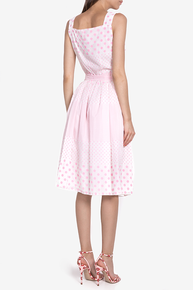 Polka-dot belted cotton midi dress Acob a Porter image 2