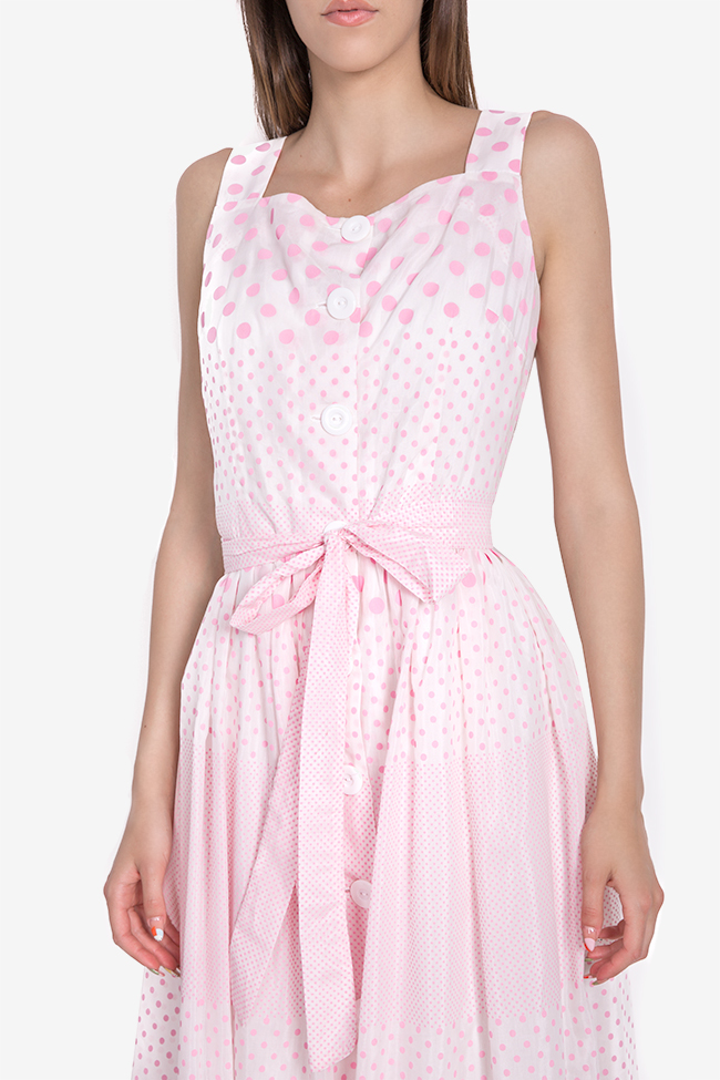 Polka-dot belted cotton midi dress Acob a Porter image 3