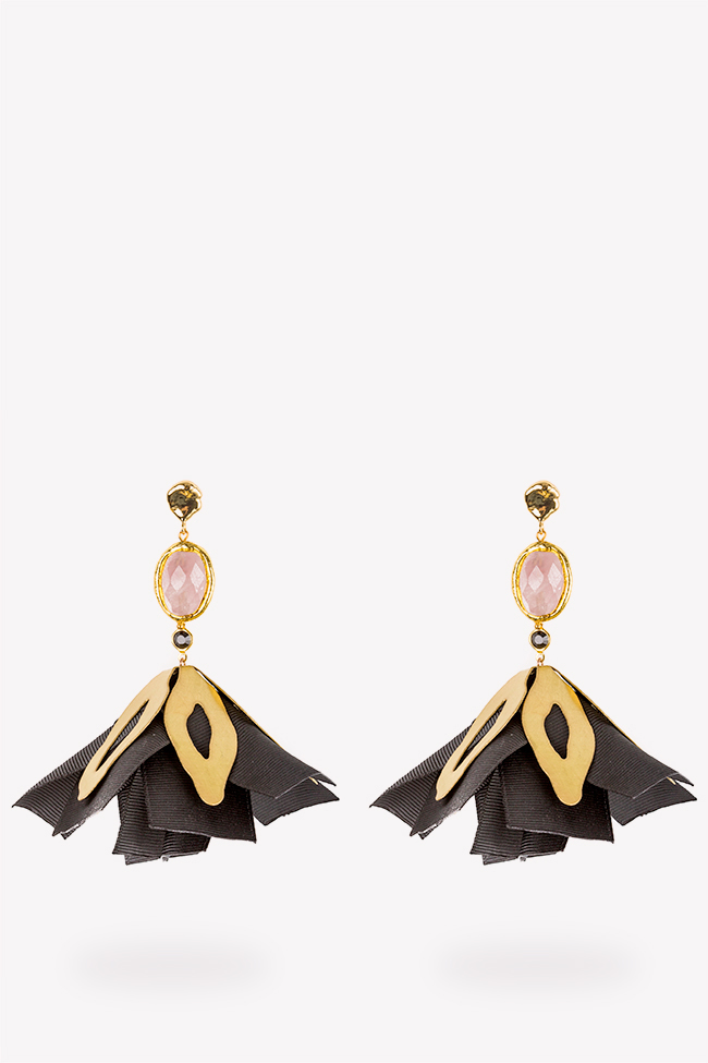 Black Flower gold-plated cultured pearls brass & pink quartz earrings Bon Bijou image 0