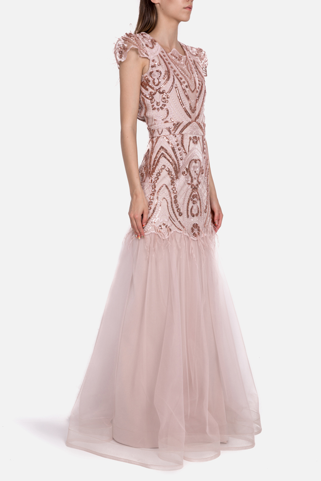Aura open-back embellished feather-trimmed tulle gown Mariana Ciceu image 1