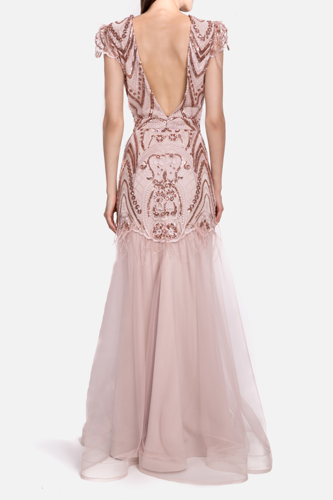 Aura open-back embellished feather-trimmed tulle gown Mariana Ciceu image 2