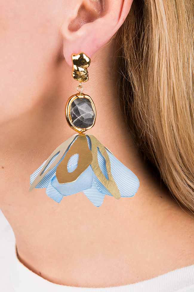 Blue Flower gold-plated cultured pearls brass & labradorite earrings Bon Bijou image 1