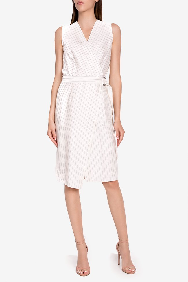 Layla striped cotton wrap midi dress Couture de Marie image 0