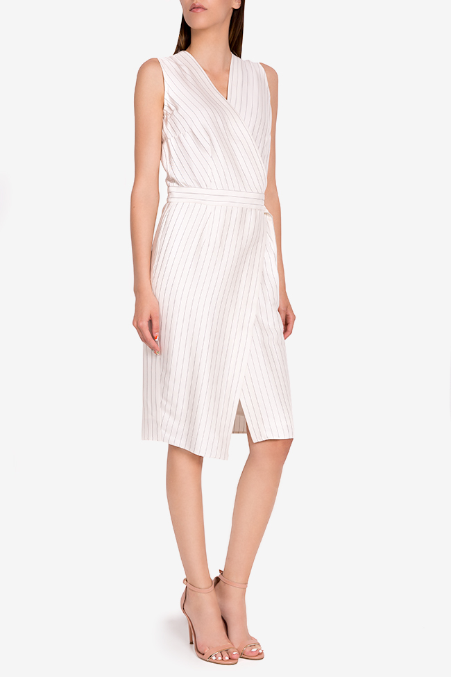 Layla striped cotton wrap midi dress Couture de Marie image 1