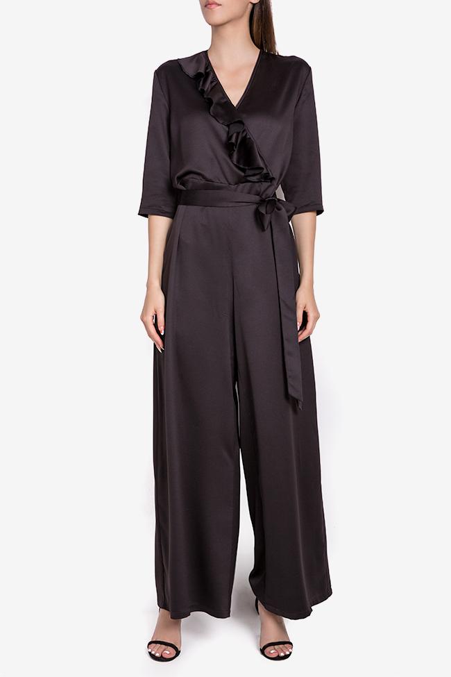 Jade wrap-effect ruffled silk-satin jumpsuit Couture de Marie image 0