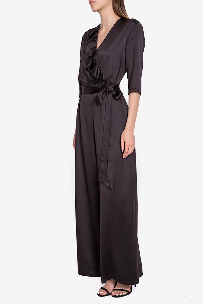 Jade wrap-effect ruffled silk-satin jumpsuit Couture de Marie image 1