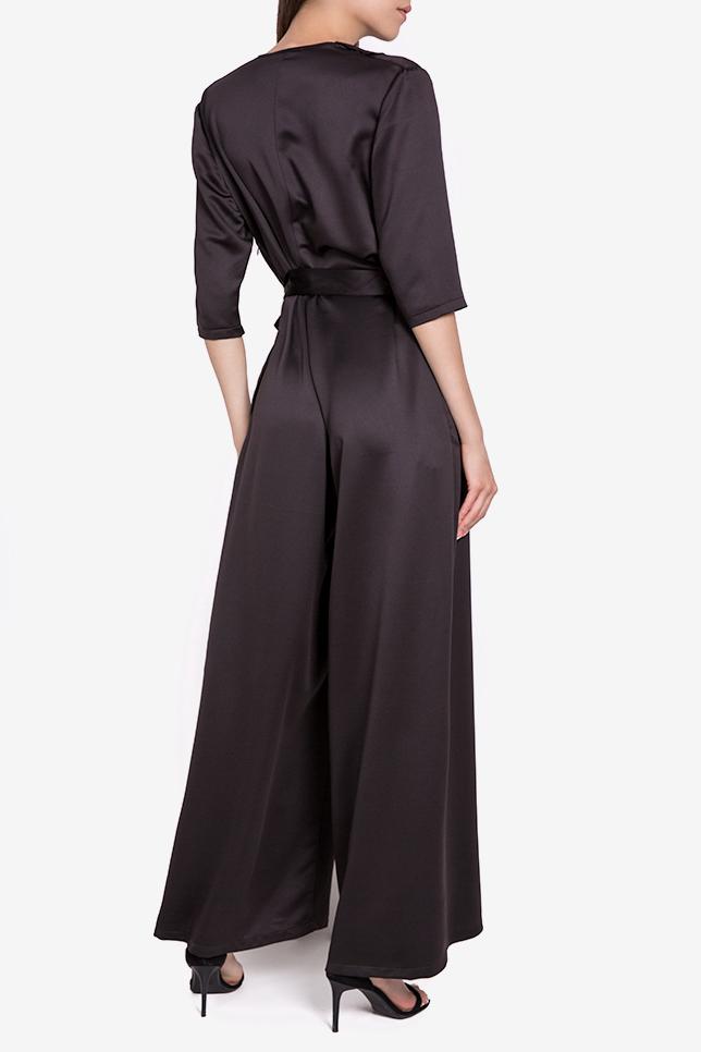Jade wrap-effect ruffled silk-satin jumpsuit Couture de Marie image 2