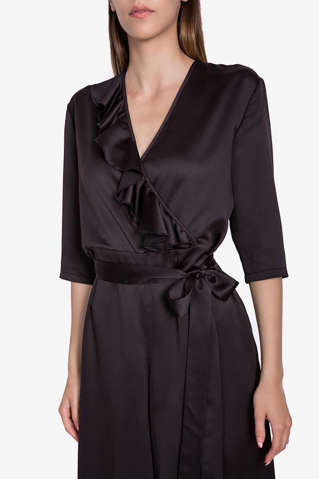 Jade wrap-effect ruffled silk-satin jumpsuit Couture de Marie image 3