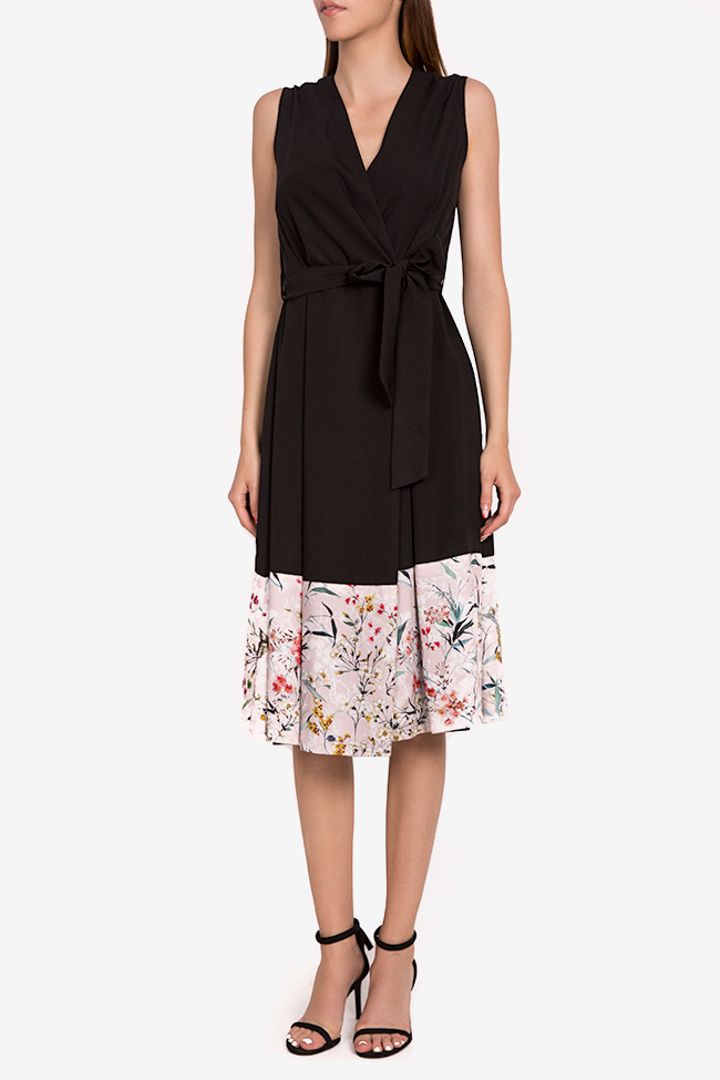 Floral-print silk-blend wrap midi dress Oana Manolescu image 0