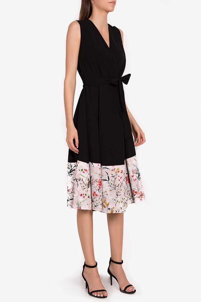 Floral-print silk-blend wrap midi dress Oana Manolescu image 1