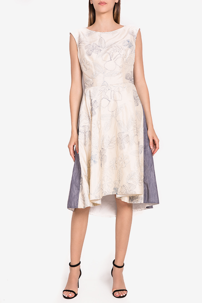 Embroidered silk-taffeta midi dress Oana Manolescu image 0