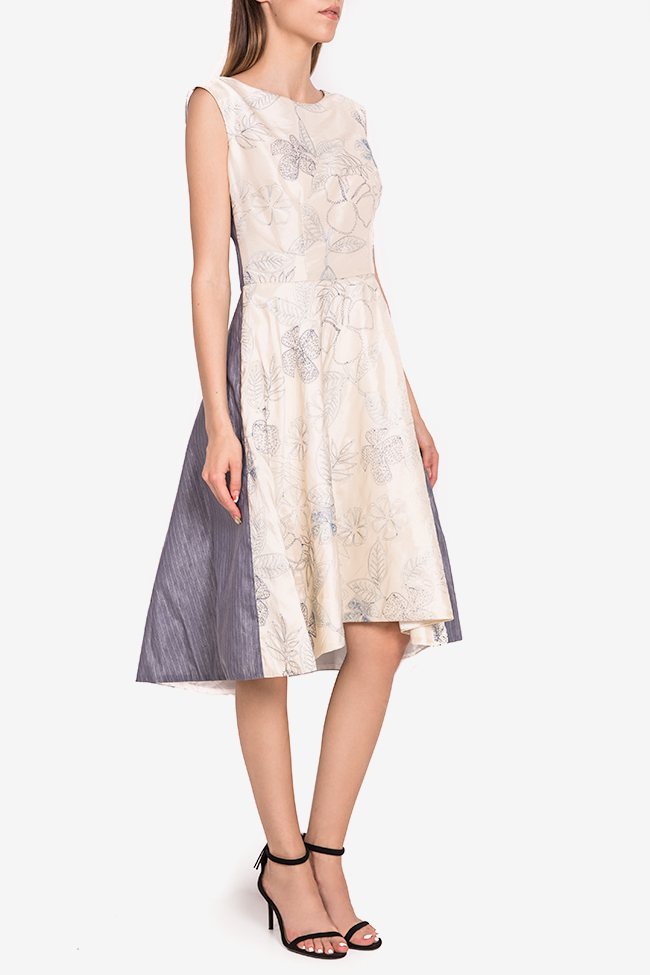 Embroidered silk-taffeta midi dress Oana Manolescu image 1