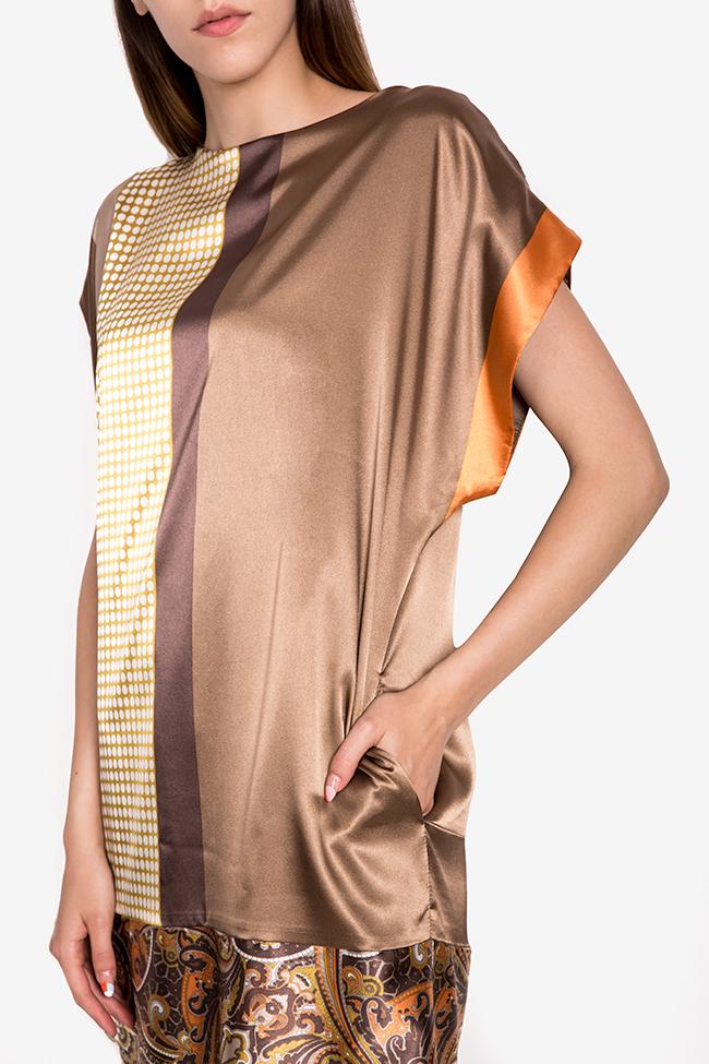 Printed satin midi dress Oana Manolescu image 3