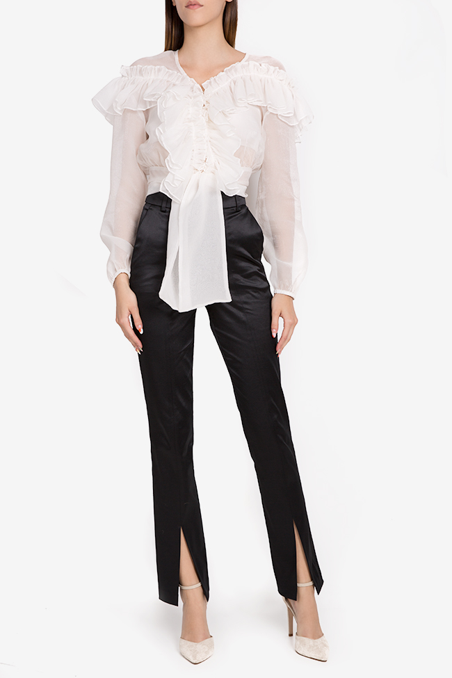 Yonce silk-blend straight-leg pants Arllabel Golden Brand image 1