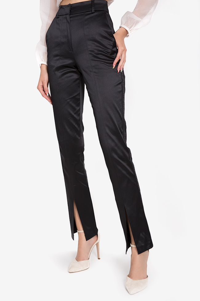 Yonce silk-blend straight-leg pants Arllabel Golden Brand image 0
