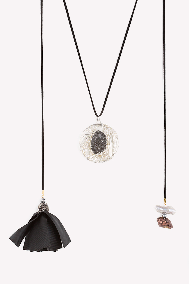 Colier asimetric din piele intorsa zirconii si quartz pe structura metalica placata cu argint Bon Bijou imagine 0