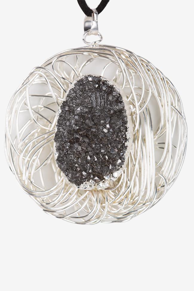 Colier asimetric din piele intorsa zirconii si quartz pe structura metalica placata cu argint Bon Bijou imagine 1