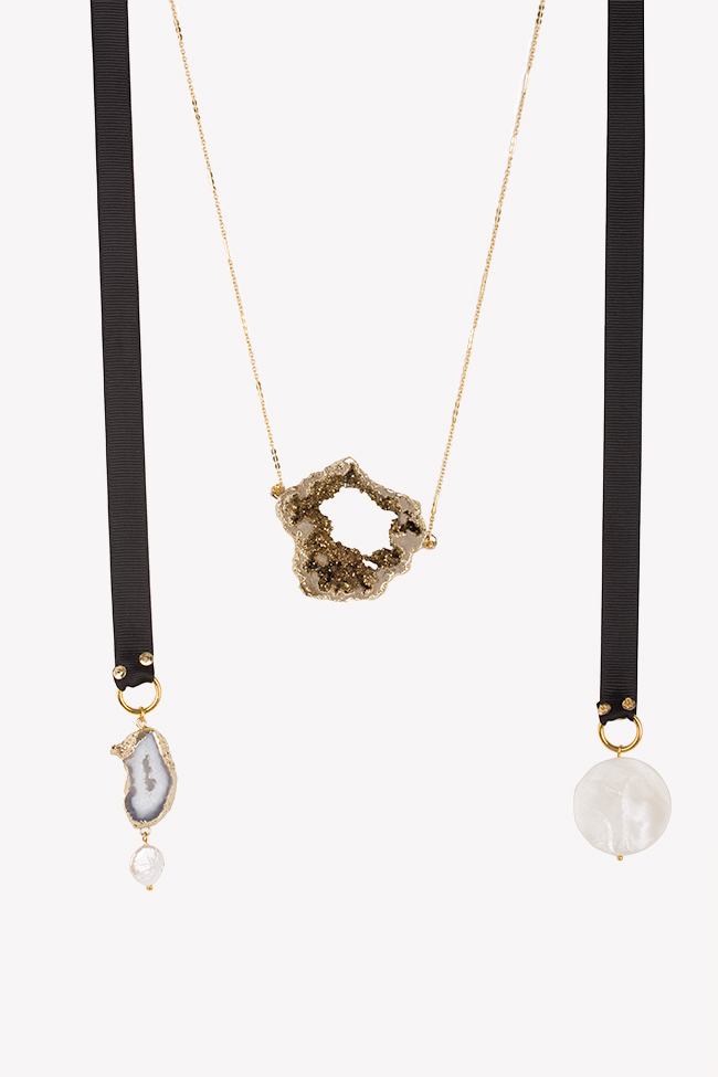 Gold-plated quartz necklace Bon Bijou image 0